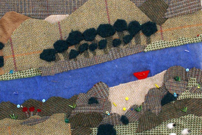 Textile-river-scene